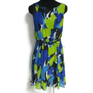 Vince Camuto Blue Lime sleeveless  Belted Dress 10